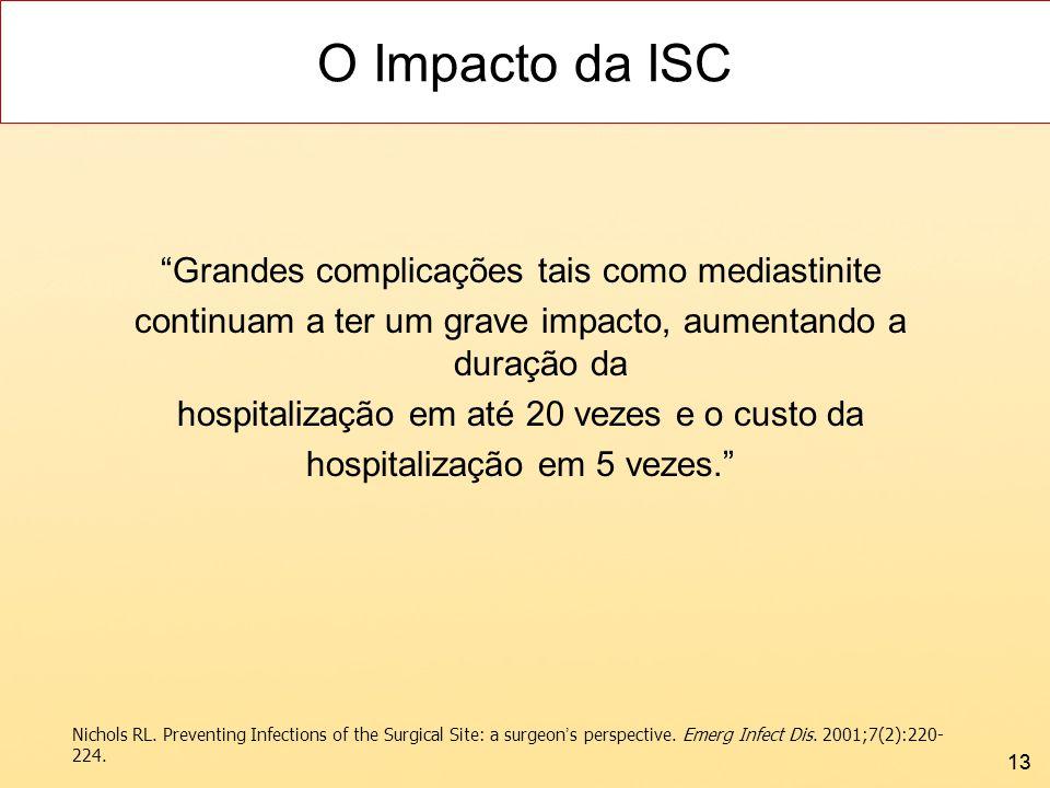 O Impacto da ISC Grandes complicações tais como mediastinite