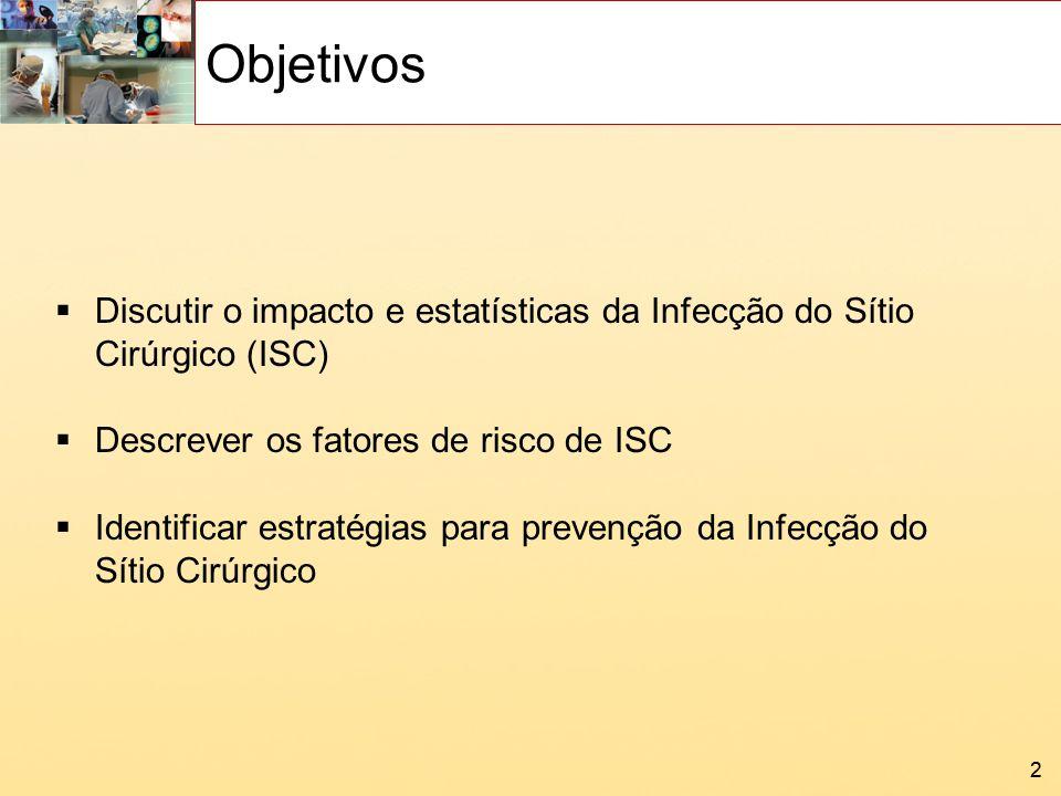 Objetivos Discutir o impacto e estatísticas da Infecção do Sítio Cirúrgico (ISC) Descrever os fatores de risco de ISC.