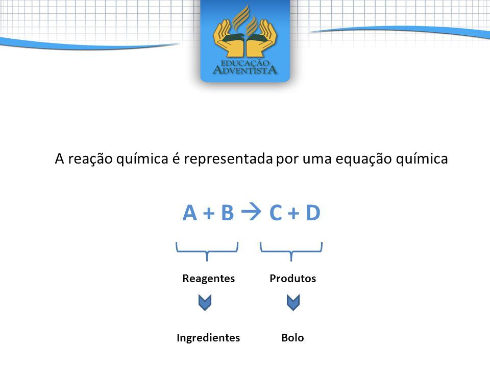 A reação química é representada por uma equação química
