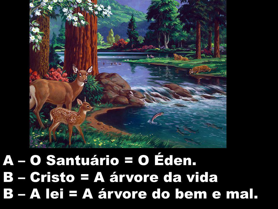A – O Santuário = O Éden. B – Cristo = A árvore da vida B – A lei = A árvore do bem e mal.