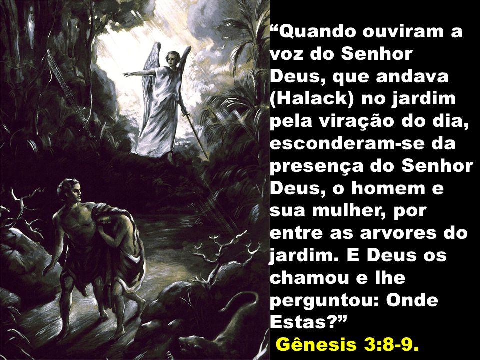 Quando ouviram a voz do Senhor Deus, que andava (Halack) no jardim pela viração do dia, esconderam-se da presença do Senhor Deus, o homem e sua mulher, por entre as arvores do jardim. E Deus os chamou e lhe perguntou: Onde Estas