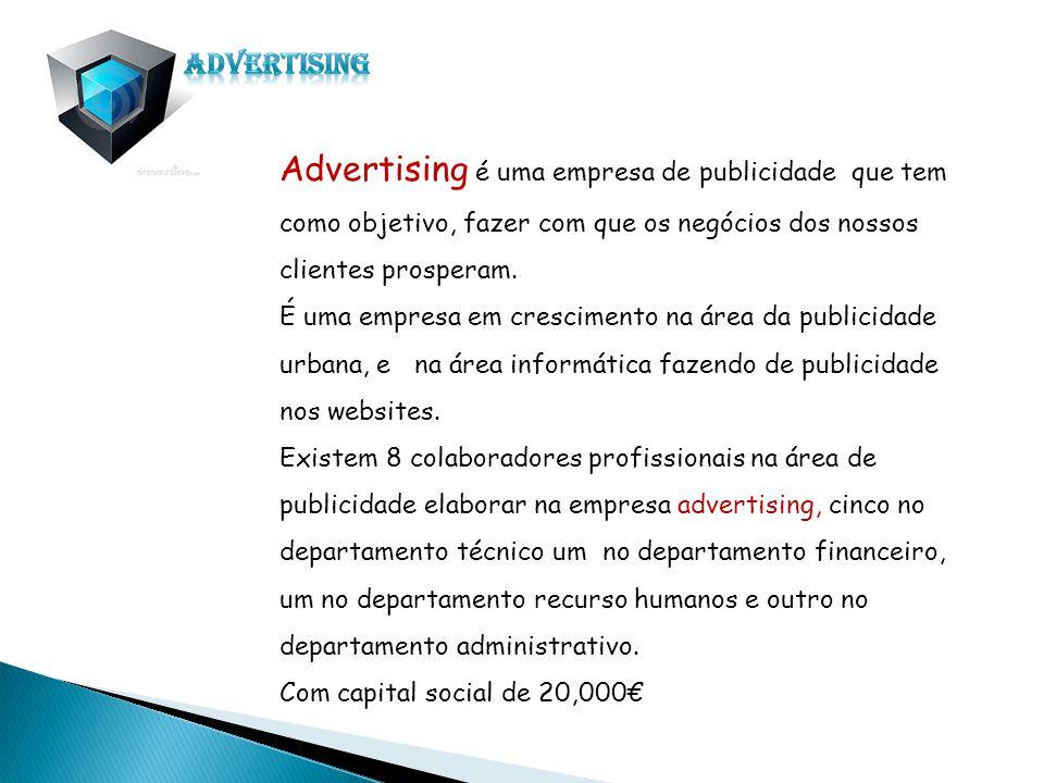 Advertising Advertising é uma empresa de publicidade que tem como objetivo, fazer com que os negócios dos nossos clientes prosperam.