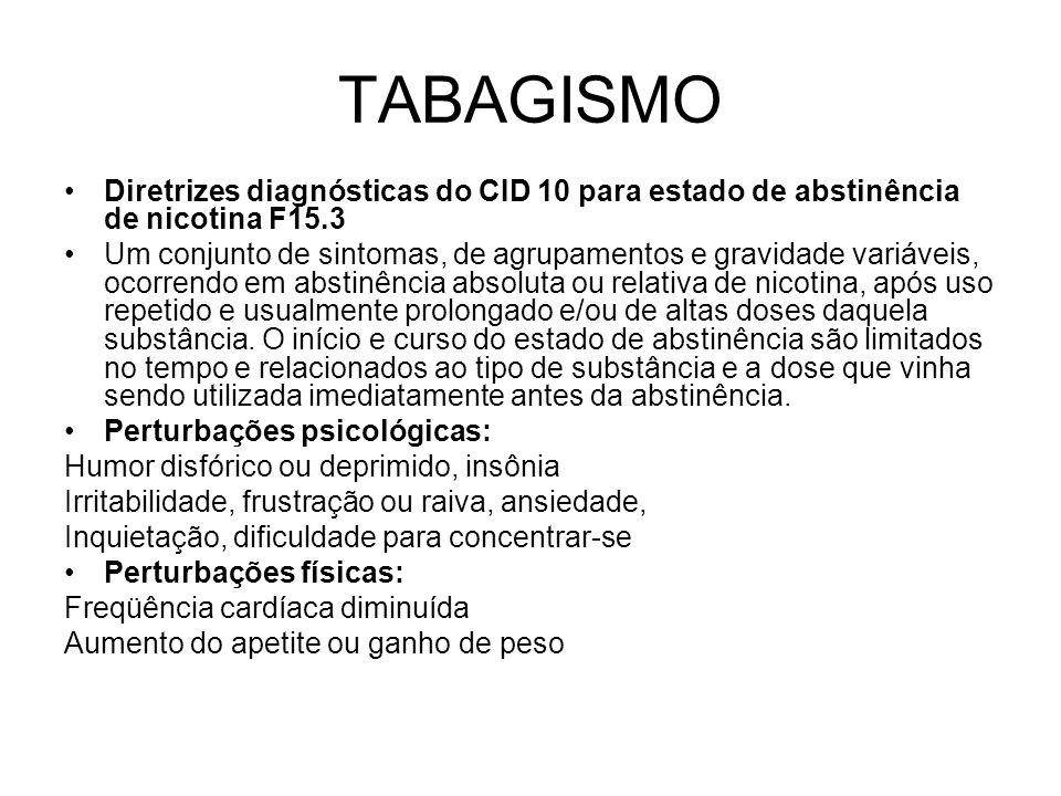 TABAGISMO Diretrizes diagnósticas do CID 10 para estado de abstinência de nicotina F15.3.