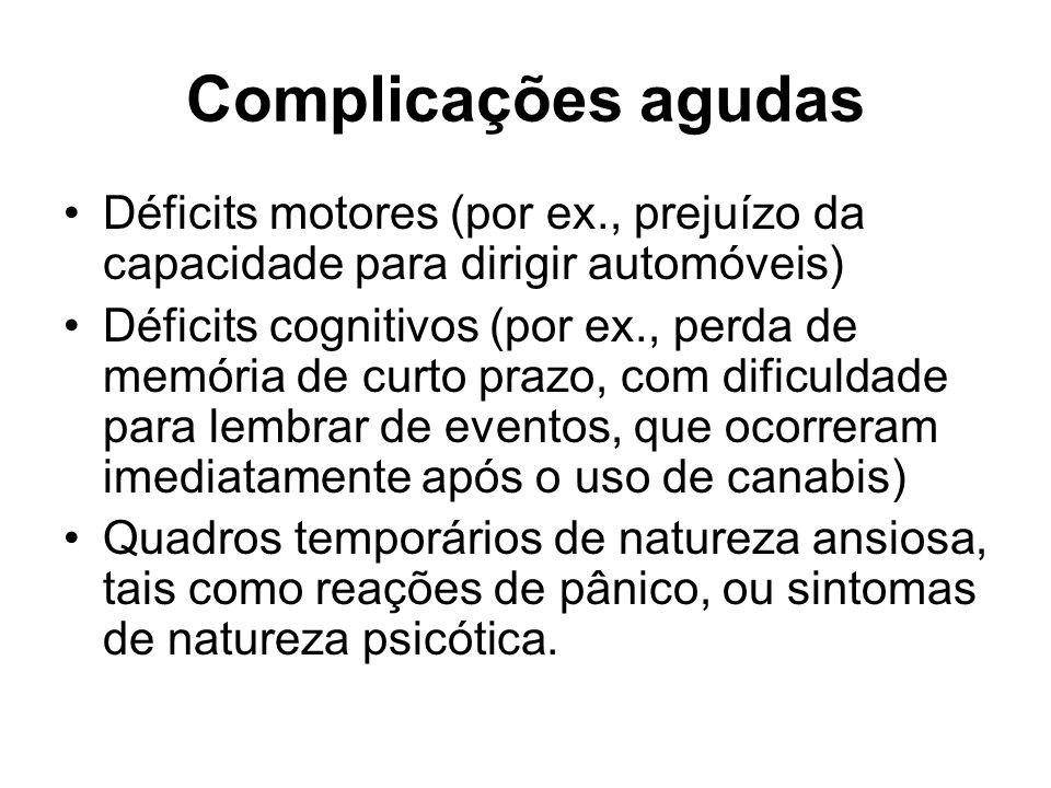 Complicações agudas Déficits motores (por ex., prejuízo da capacidade para dirigir automóveis)