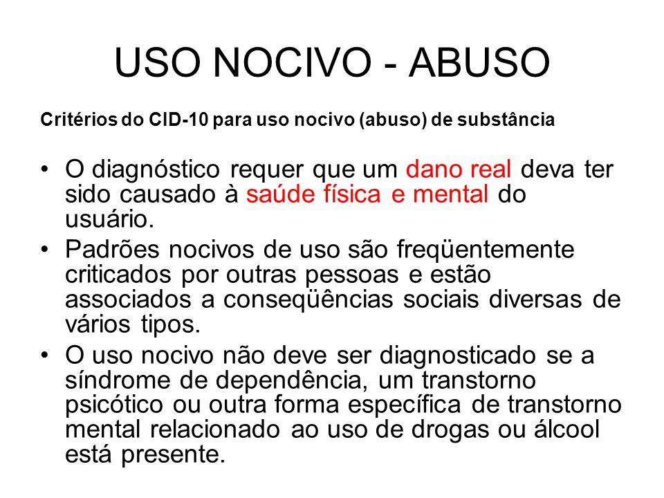USO NOCIVO - ABUSO Critérios do CID-10 para uso nocivo (abuso) de substância.