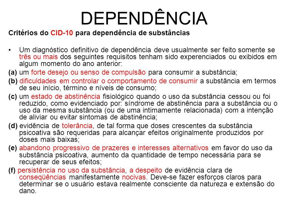 DEPENDÊNCIA Critérios do CID-10 para dependência de substâncias