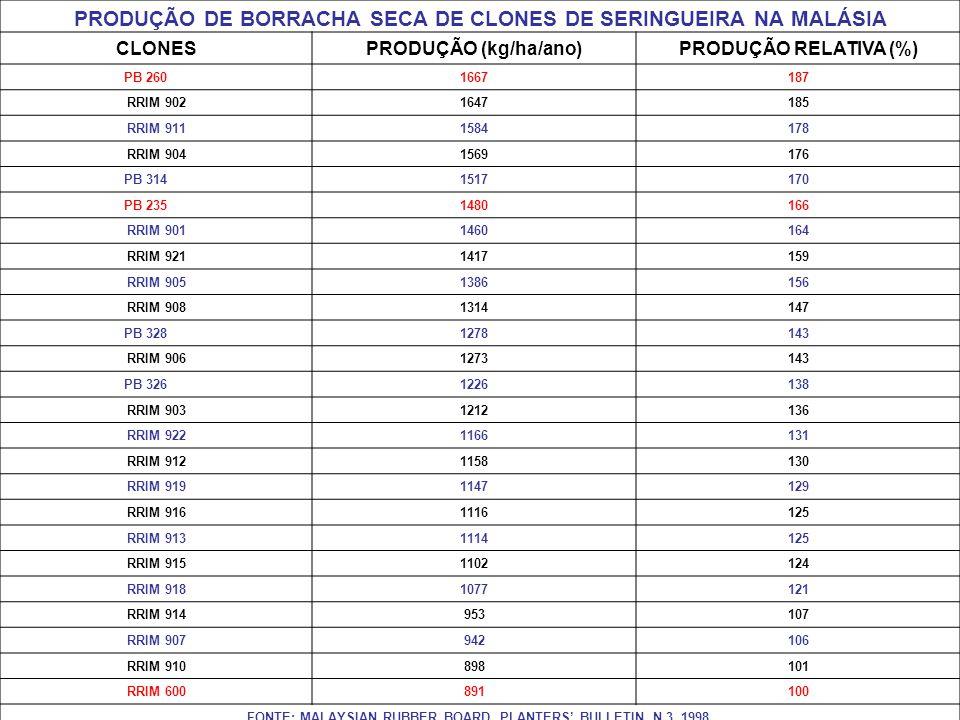 PRODUÇÃO DE BORRACHA SECA DE CLONES DE SERINGUEIRA NA MALÁSIA