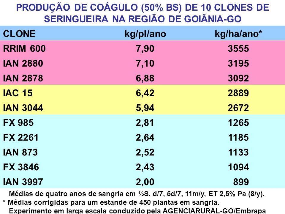 PRODUÇÃO DE COÁGULO (50% BS) DE 10 CLONES DE SERINGUEIRA NA REGIÃO DE GOIÂNIA-GO