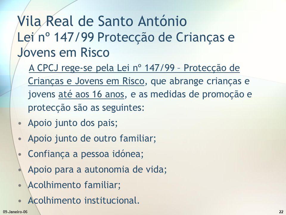 Vila Real de Santo António Lei nº 147/99 Protecção de Crianças e Jovens em Risco