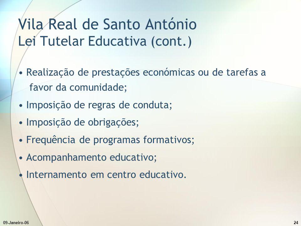 Vila Real de Santo António Lei Tutelar Educativa (cont.)