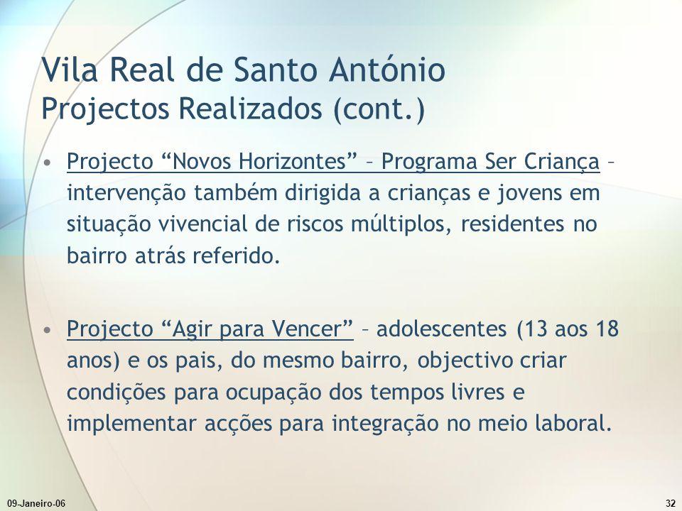 Vila Real de Santo António Projectos Realizados (cont.)