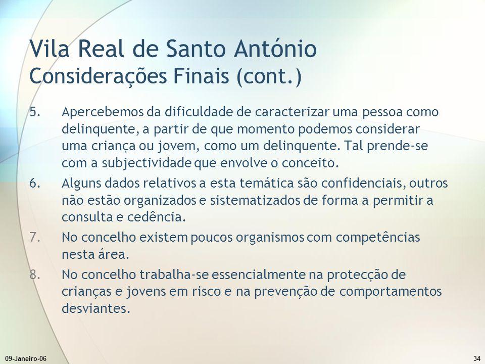 Vila Real de Santo António Considerações Finais (cont.)
