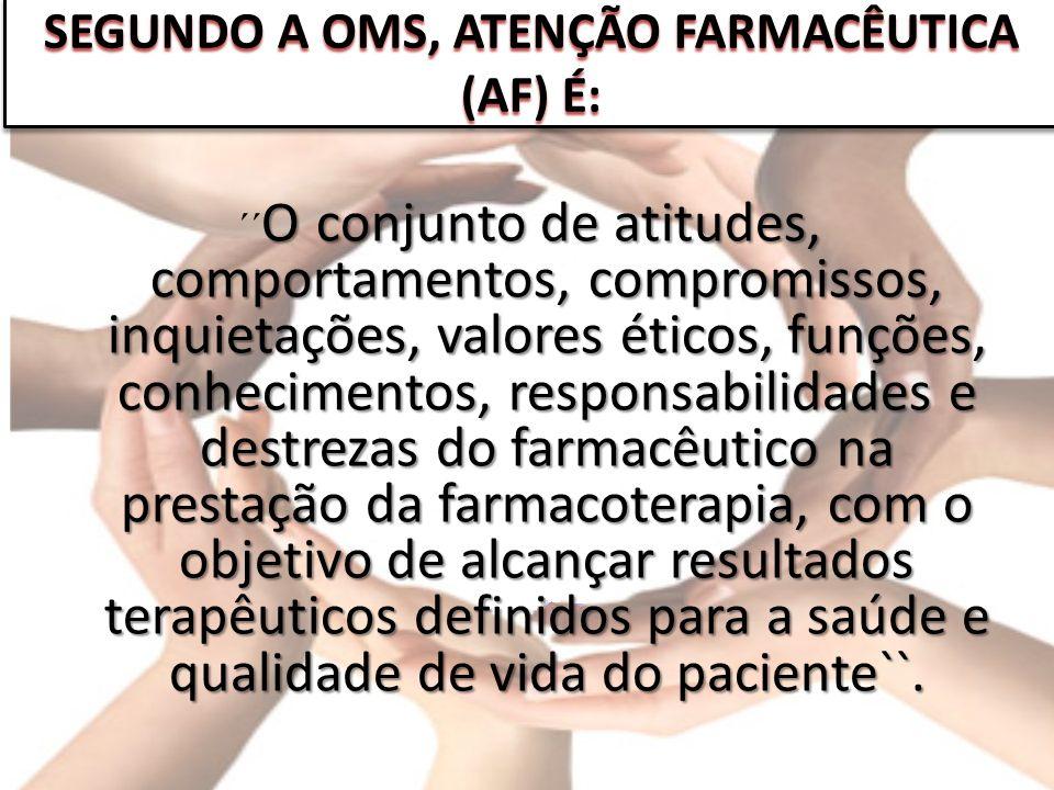 SEGUNDO A OMS, ATENÇÃO FARMACÊUTICA (AF) É: