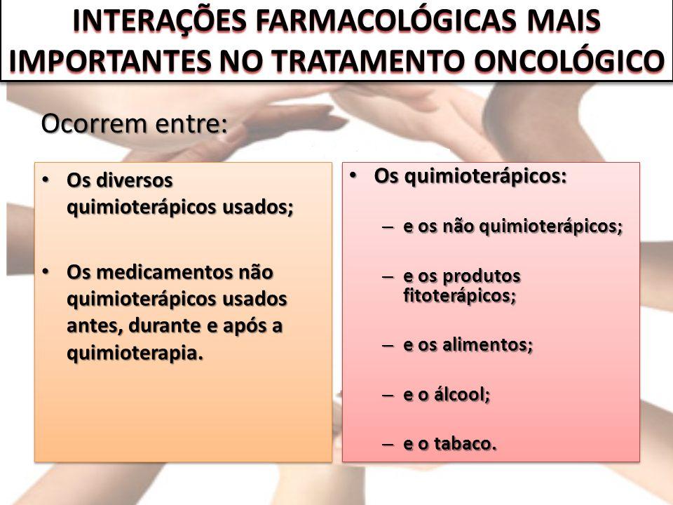 INTERAÇÕES FARMACOLÓGICAS MAIS IMPORTANTES NO TRATAMENTO ONCOLÓGICO