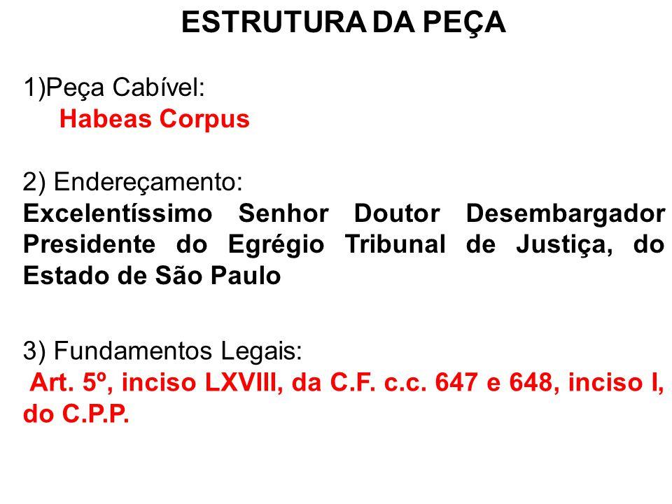 ESTRUTURA DA PEÇA Peça Cabível: Habeas Corpus 2) Endereçamento: