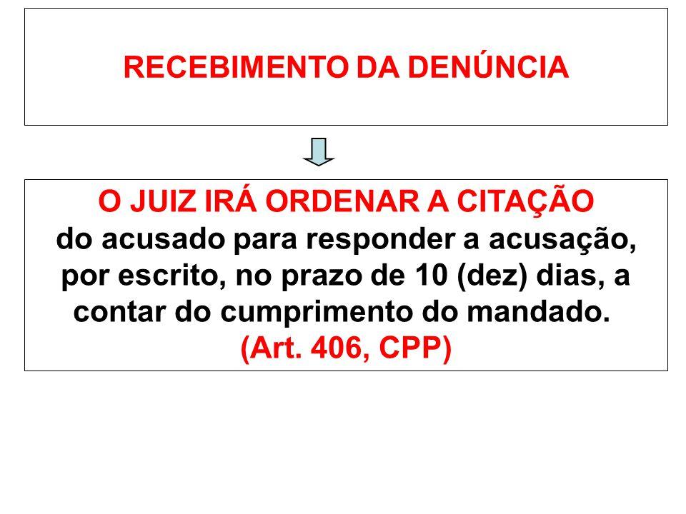 RECEBIMENTO DA DENÚNCIA O JUIZ IRÁ ORDENAR A CITAÇÃO