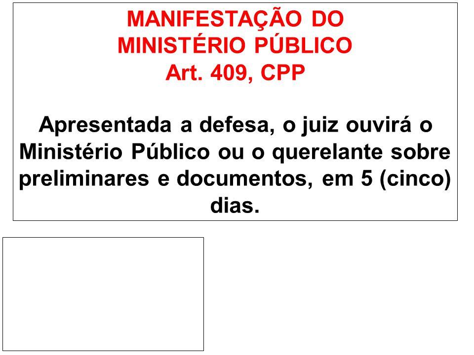 MANIFESTAÇÃO DO MINISTÉRIO PÚBLICO