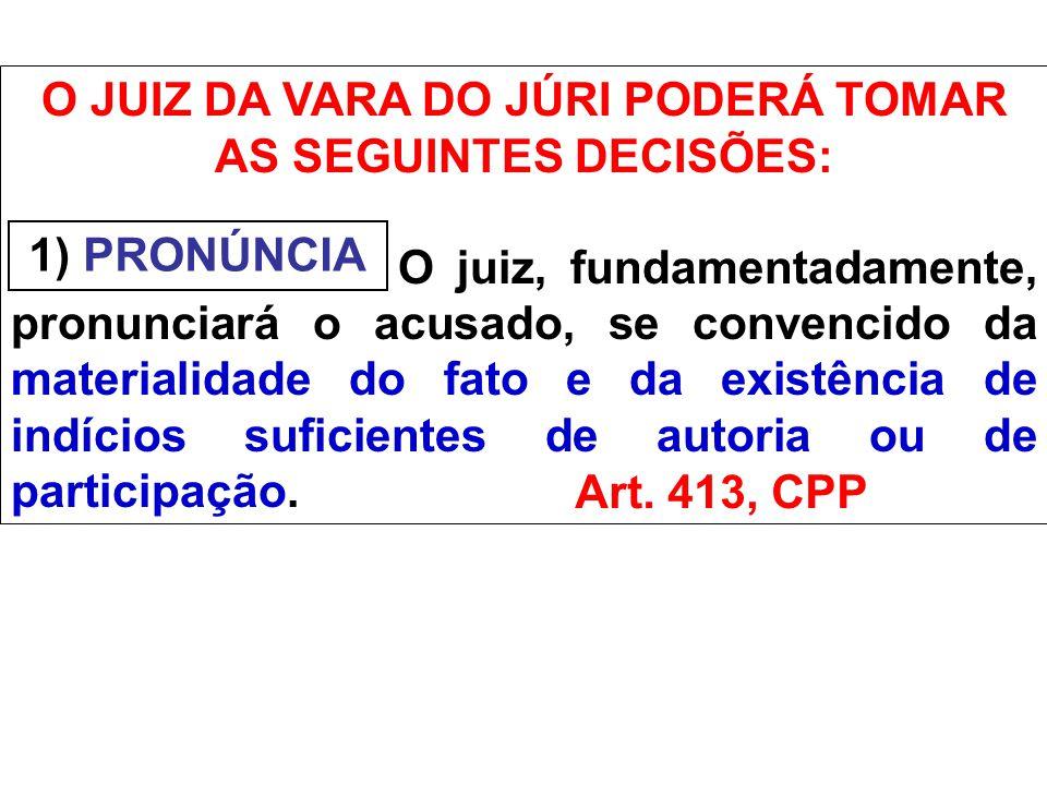 O JUIZ DA VARA DO JÚRI PODERÁ TOMAR AS SEGUINTES DECISÕES: