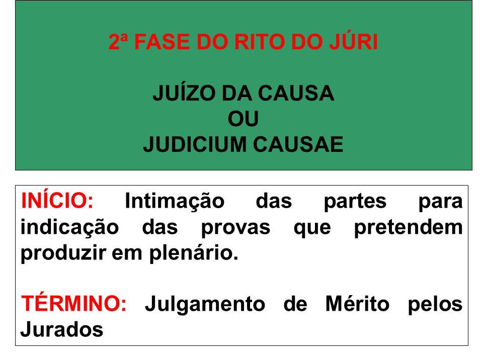 2ª FASE DO RITO DO JÚRI JUÍZO DA CAUSA. OU. JUDICIUM CAUSAE.
