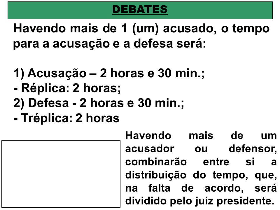 1) Acusação – 2 horas e 30 min.; - Réplica: 2 horas;