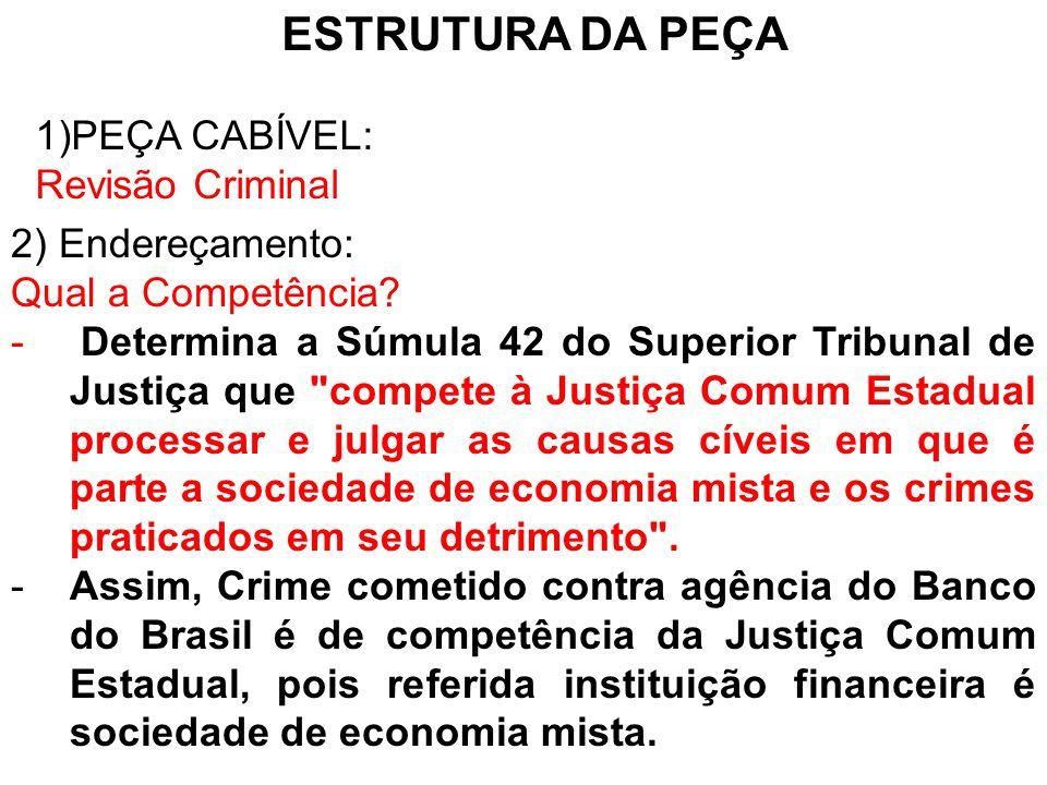 ESTRUTURA DA PEÇA PEÇA CABÍVEL: Revisão Criminal 2) Endereçamento: