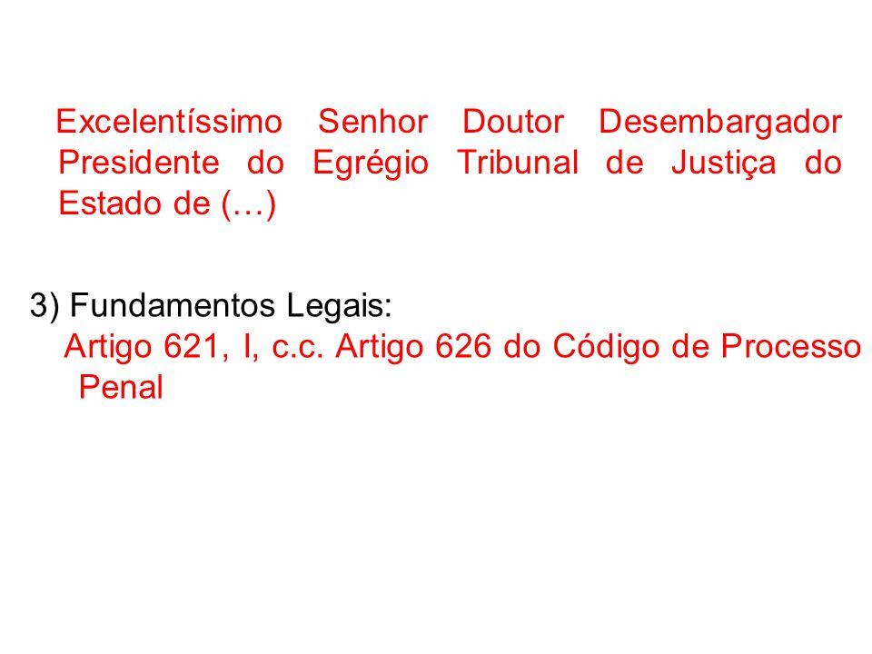 Excelentíssimo Senhor Doutor Desembargador Presidente do Egrégio Tribunal de Justiça do Estado de (…)