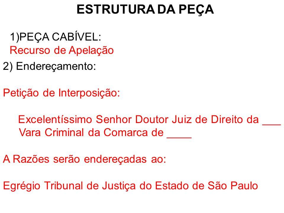 ESTRUTURA DA PEÇA PEÇA CABÍVEL: Recurso de Apelação 2) Endereçamento: