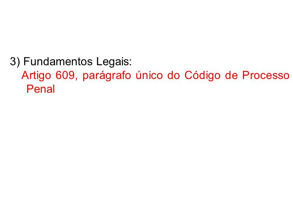3) Fundamentos Legais: Artigo 609, parágrafo único do Código de Processo Penal