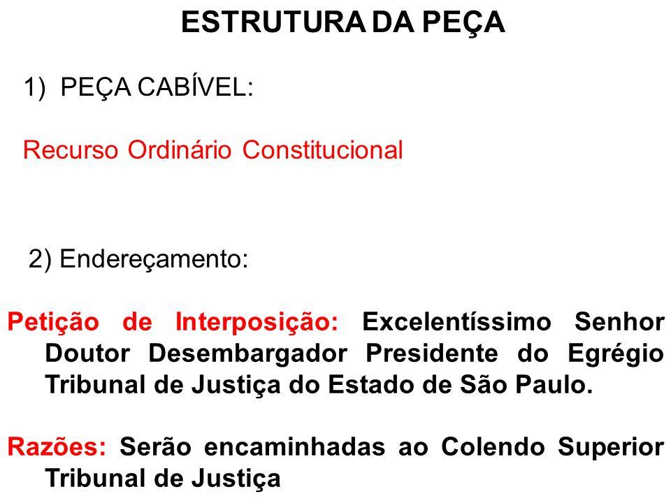 ESTRUTURA DA PEÇA PEÇA CABÍVEL: Recurso Ordinário Constitucional