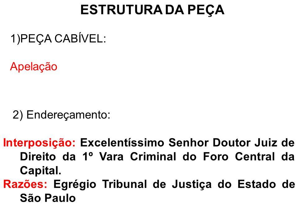 ESTRUTURA DA PEÇA PEÇA CABÍVEL: Apelação 2) Endereçamento: