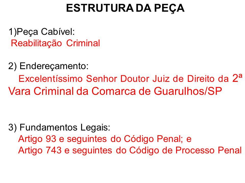 ESTRUTURA DA PEÇA Peça Cabível: Reabilitação Criminal