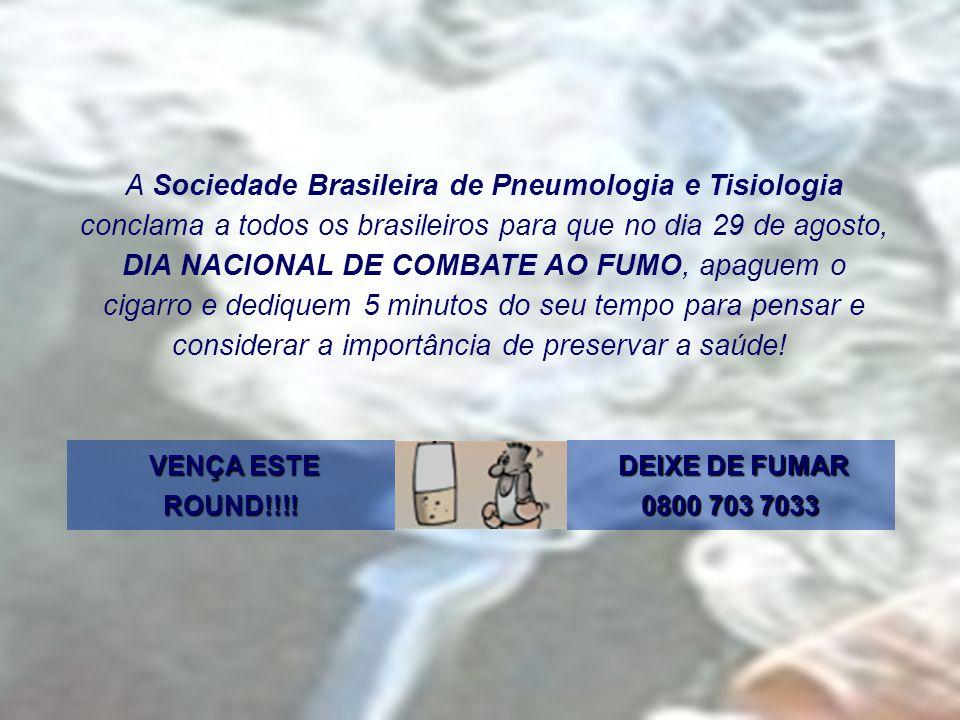 A Sociedade Brasileira de Pneumologia e Tisiologia conclama a todos os brasileiros para que no dia 29 de agosto, DIA NACIONAL DE COMBATE AO FUMO, apaguem o cigarro e dediquem 5 minutos do seu tempo para pensar e considerar a importância de preservar a saúde!