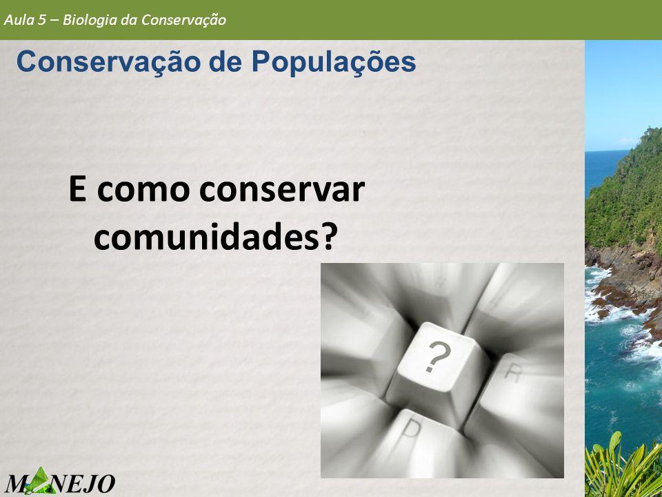 Conservação de Populações E como conservar comunidades