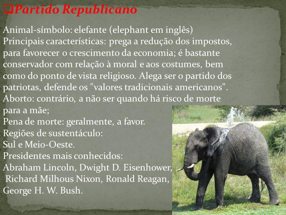 Partido Republicano Animal-símbolo: elefante (elephant em inglês)