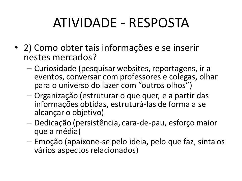 ATIVIDADE - RESPOSTA 2) Como obter tais informações e se inserir nestes mercados
