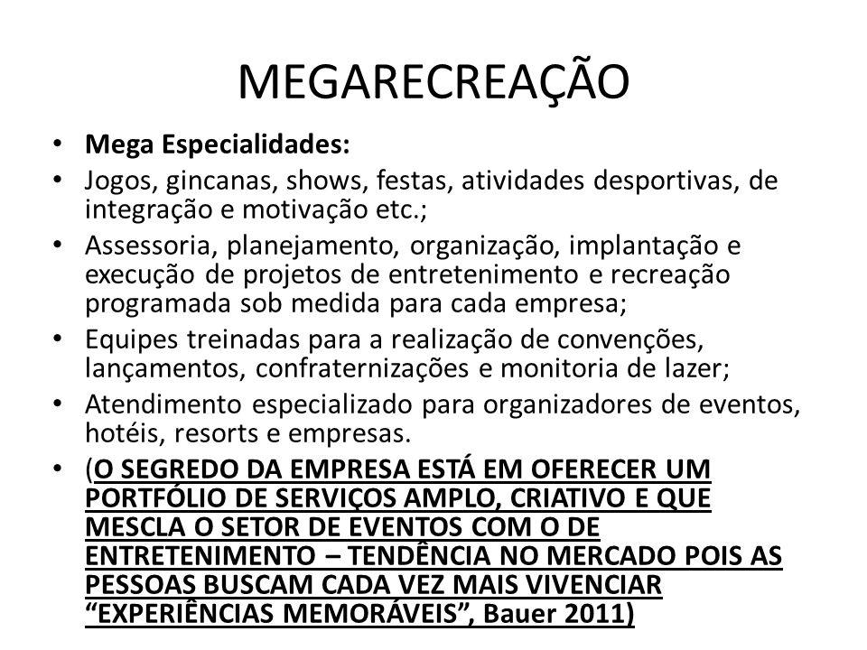 MEGARECREAÇÃO Mega Especialidades: