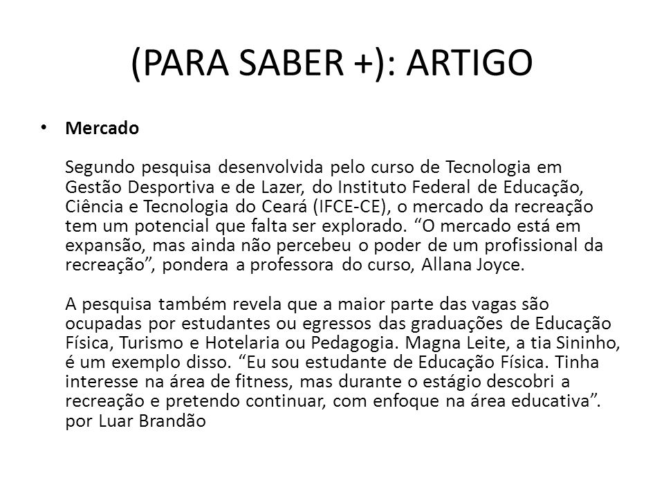 (PARA SABER +): ARTIGO