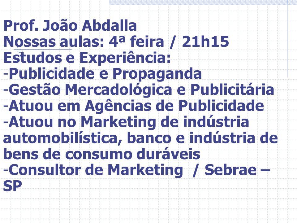 Prof. João Abdalla Nossas aulas: 4ª feira / 21h15. Estudos e Experiência: Publicidade e Propaganda.