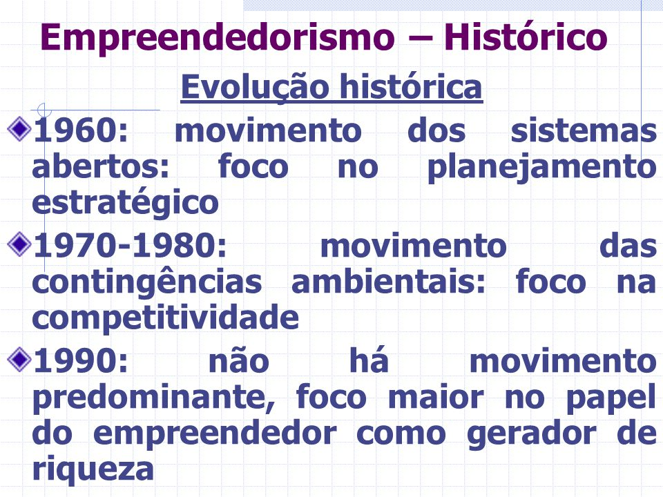 Empreendedorismo – Histórico