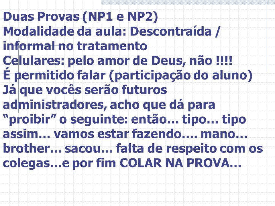 Duas Provas (NP1 e NP2) Modalidade da aula: Descontraída / informal no tratamento. Celulares: pelo amor de Deus, não !!!!