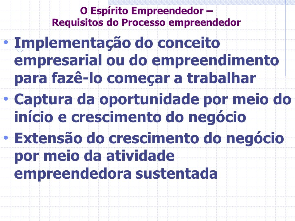 O Espírito Empreendedor – Requisitos do Processo empreendedor