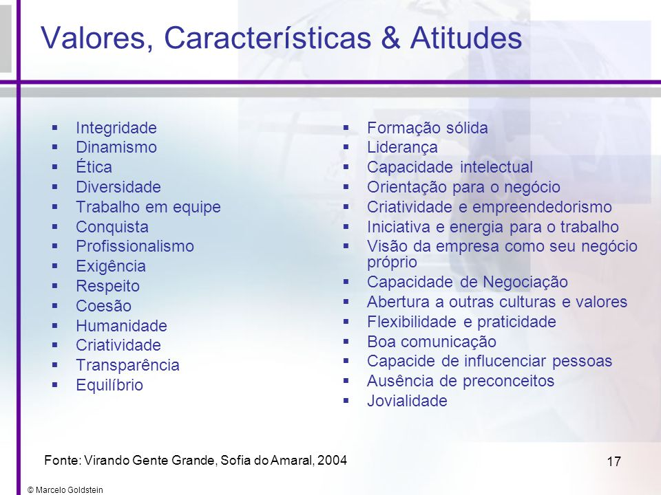Valores, Características & Atitudes