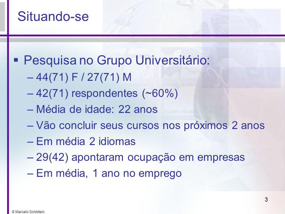 Situando-se Pesquisa no Grupo Universitário: 44(71) F / 27(71) M
