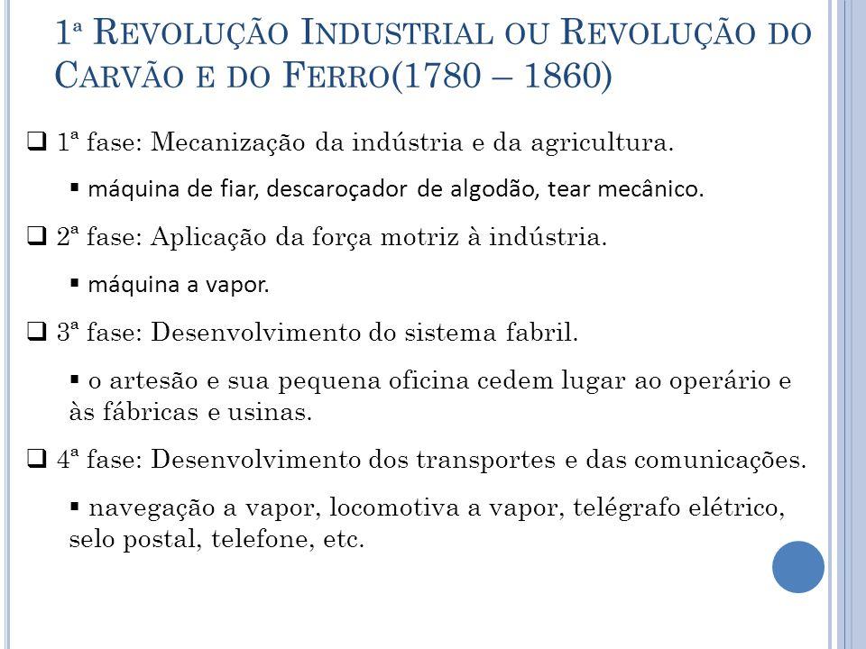 1ª Revolução Industrial ou Revolução do Carvão e do Ferro(1780 – 1860)