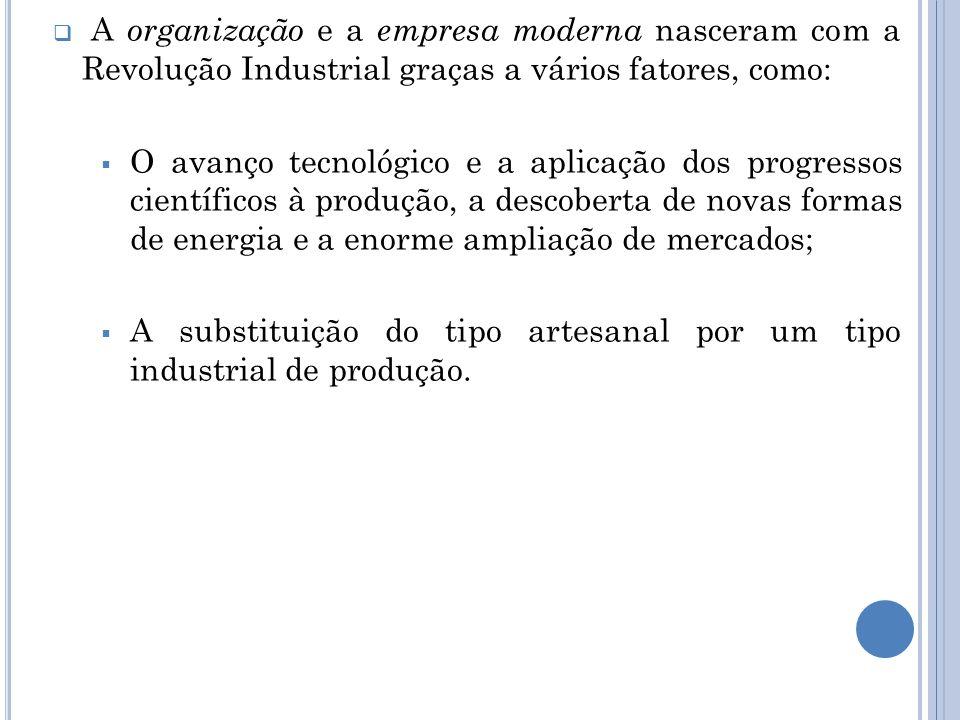 A organização e a empresa moderna nasceram com a Revolução Industrial graças a vários fatores, como: