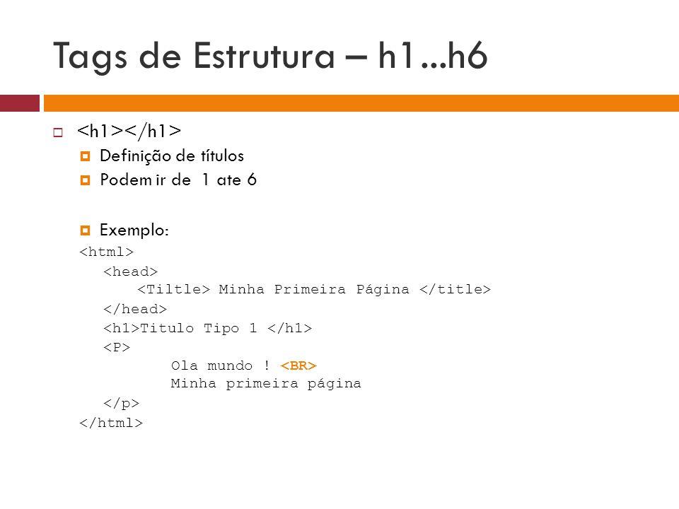 Tags de Estrutura – h1...h6 <h1></h1> Definição de títulos