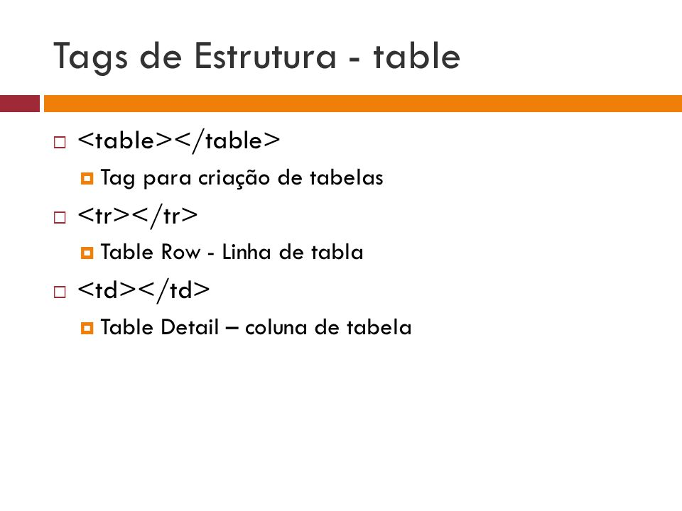 Tags de Estrutura - table