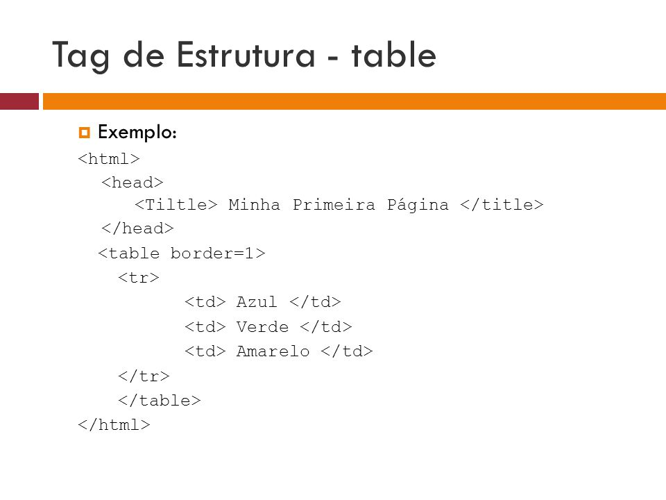 Tag de Estrutura - table