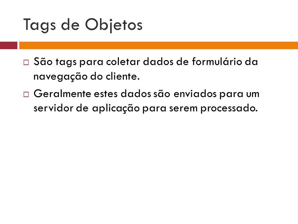 Tags de Objetos São tags para coletar dados de formulário da navegação do cliente.