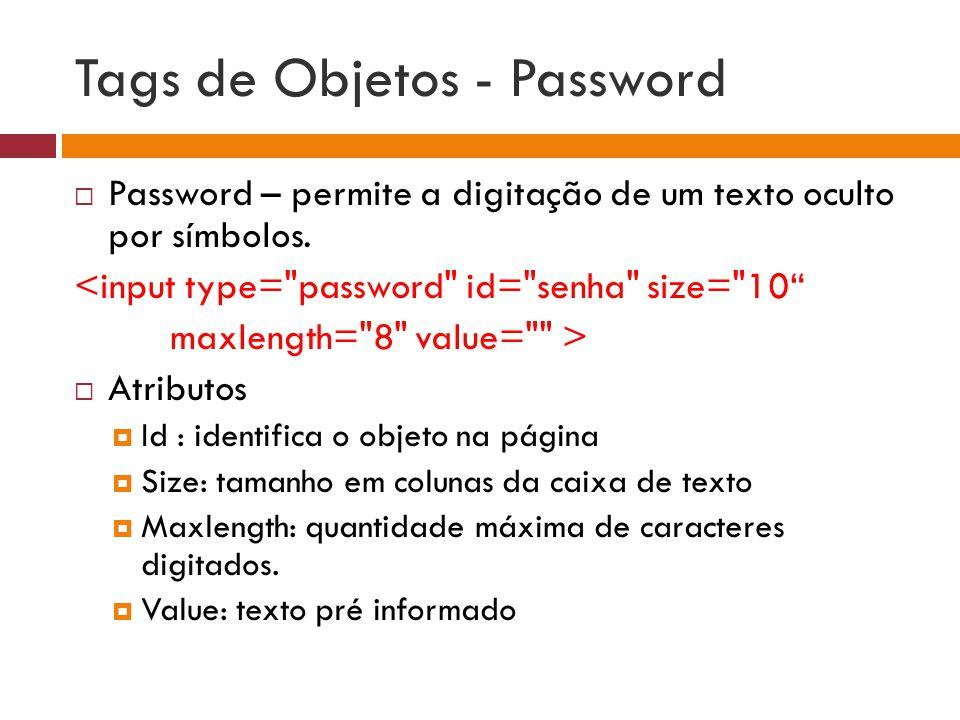 Tags de Objetos - Password